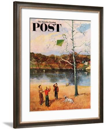 """""""Kite in the Tree"""" Saturday Evening Post Cover, March 10, 1956-John Clymer-Framed Giclee Print"""