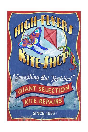 Kite Shop - Vintage Sign-Lantern Press-Art Print