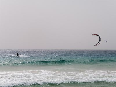 Kite Surfing at Santa Maria on the Island of Sal (Salt), Cape Verde Islands, Africa-R H Productions-Photographic Print