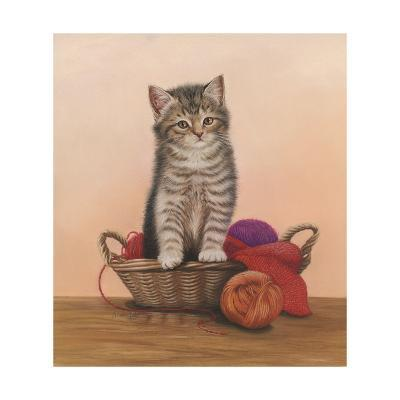 Kitten and Wool Basket-Janet Pidoux-Giclee Print