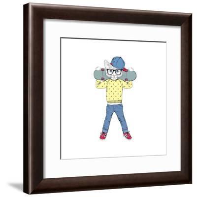 Kitten Boy with Skateboard-Olga_Angelloz-Framed Premium Giclee Print