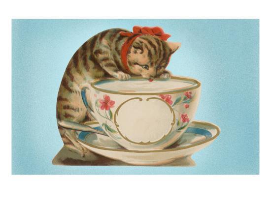 Kitten Drinking Out of Tea Cup--Art Print