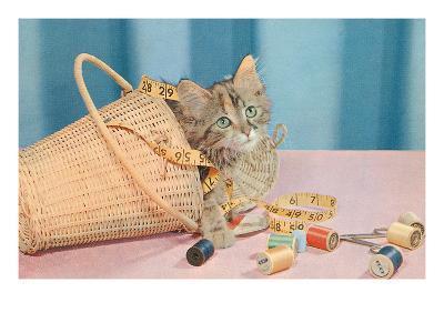 Kitten in Sewing Basket--Art Print
