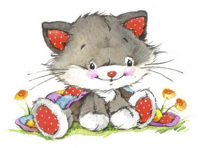Kitten in the flowers-ZPR Int'L-Giclee Print