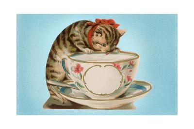 Kitten Lapping at Cup-Found Image Press-Giclee Print