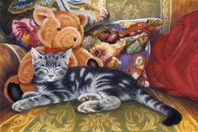 Kitten, Teddy and Cushions-Janet Pidoux-Giclee Print