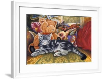 Kitten, Teddy and Cushions-Janet Pidoux-Framed Giclee Print