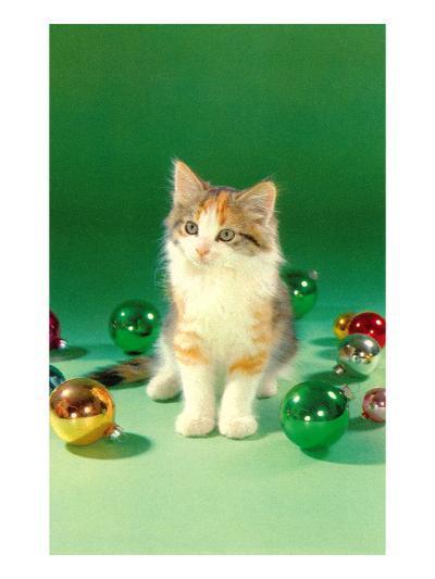 Kitten with Christmas Bulbs, Retro--Art Print