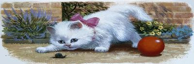 Kitten with Snail and Ball-English School-Giclee Print