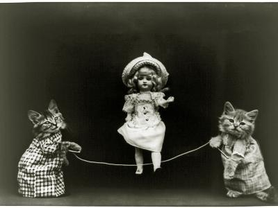Kittens and a Doll Skipping, 1891--Photographic Print