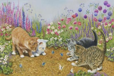 Kittens and Butterflies-Janet Pidoux-Giclee Print