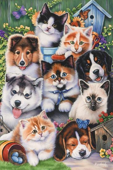 Kittens and Puppies in the Garden-Jenny Newland-Giclee Print