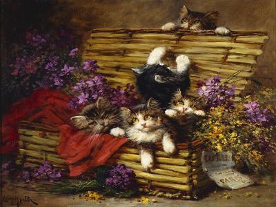 Kittens at Play-Léon Charles Huber-Giclee Print