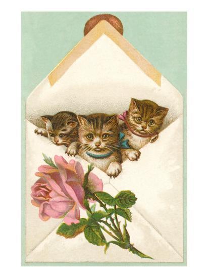 Kittens in Envelope with Rose--Art Print
