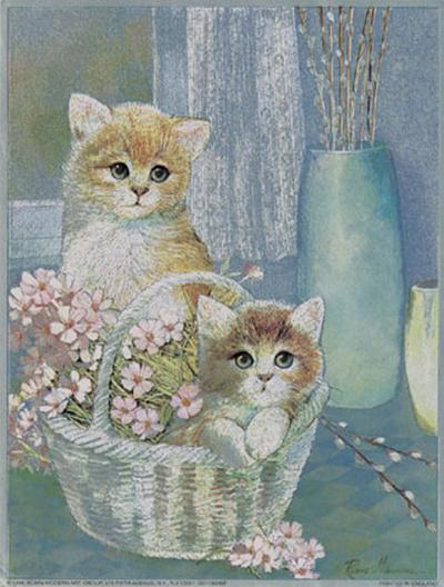 Kittens in Wicker Basket-Ruane Manning-Art Print