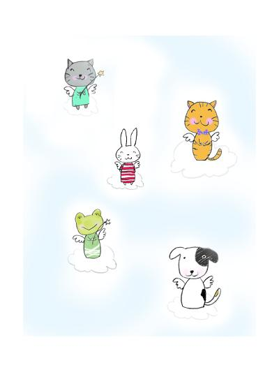 Kittens, Rabbit, Frog, and Dog on Clouds with Angel Wings--Art Print