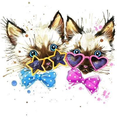 Kittens Twins T-Shirt Graphics. Kittens Twins Illustration with Splash Watercolor Textured Backgro-Dabrynina Alena-Art Print