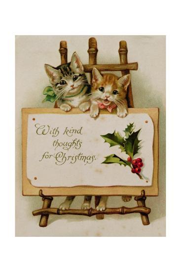 Kittens, Victorian Card--Giclee Print