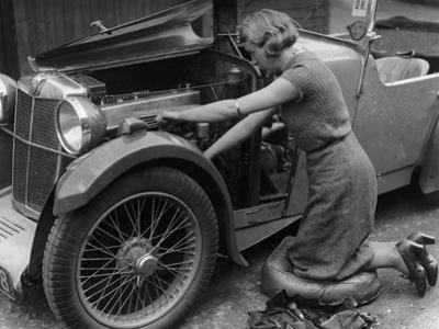 Kitty Brunell Working on Her Mg F Magna
