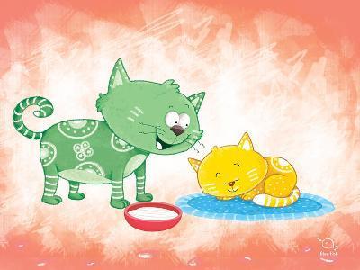 Kitty Koo- Blue Fish-Art Print
