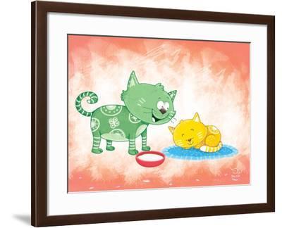 Kitty Koo- Blue Fish-Framed Art Print