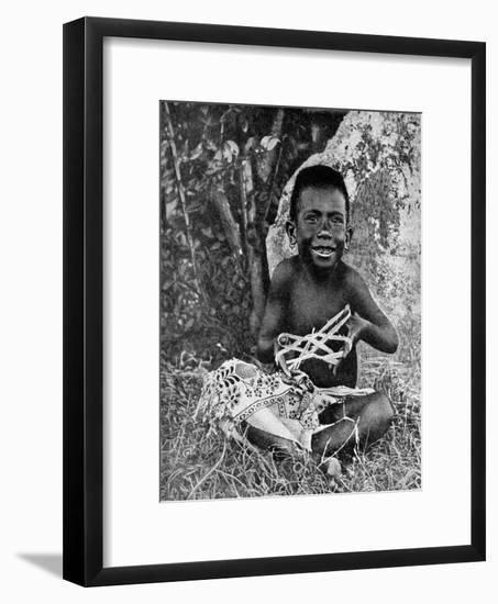 Kiwai Child, Living at the Entrance to the Fly River, New Guinea, 1922-WN Beaver-Framed Giclee Print