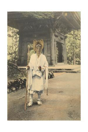 A Japanese Priest-Doctor Walks Along a Road Carrying a Few Wares
