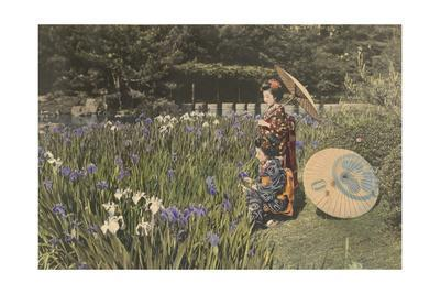 Two Young Women Gather Irises in a Japanese Garden