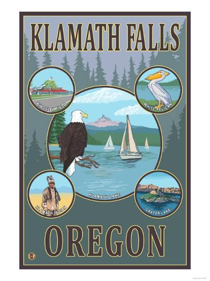 Klamath Falls, Oregon - Scenic Travel Poster-Lantern Press-Art Print