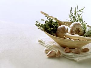 Still Life with Garlic and Various Fresh Herbs by Klaus Arras
