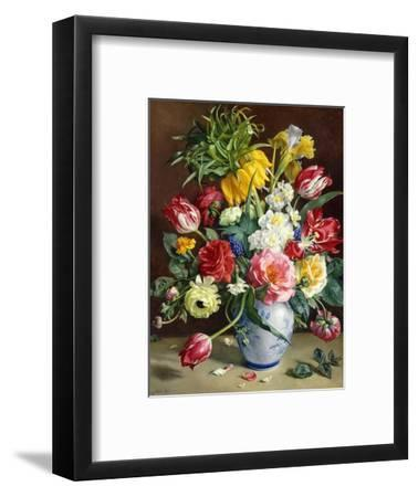 Tulips, Roses, Narcissi and other Flowers in a Blue and White Vase