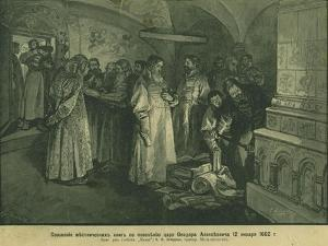 Tsar Fyodor III Burn the Books of Russian Nobility 1682, 1897 by Klavdi Vasilyevich Lebedev