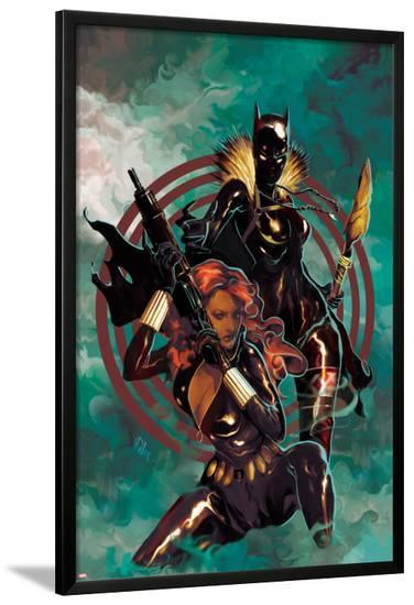 Klaws of The Panther No.4 Cover: Black Widow and Black Panther Posing-Mike Del Mundo-Lamina Framed Poster
