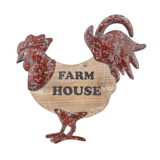 Kliment Wood and Metal Rooster Wall Decor--Home Accessories
