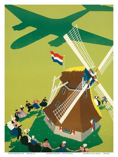 KLM Royal Dutch Airlines: Holland Windmill, c.1945-Paul Brillens-Art Print