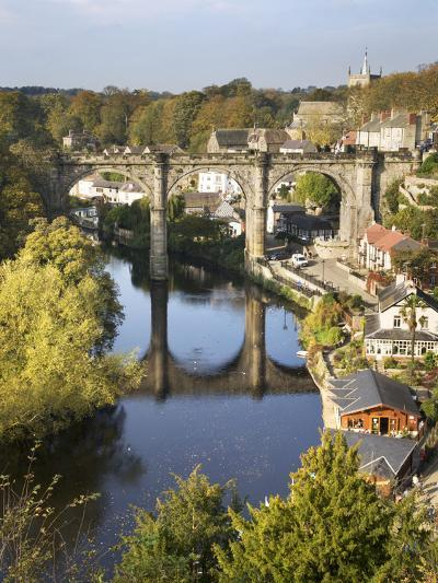 Knaresborough Viaduct and River Nidd in Autumn, North Yorkshire, Yorkshire, England, United Kingdom-Mark Sunderland-Photographic Print