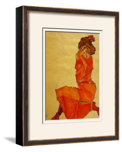 Kneeling Female in Orange Dress, c.1910-Egon Schiele-Framed Art Print