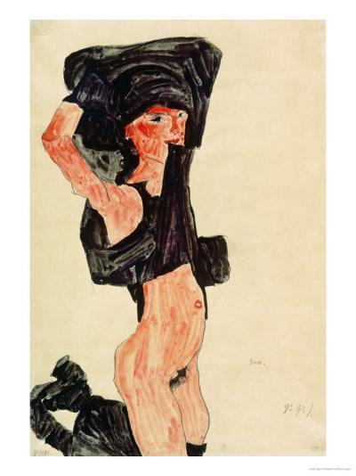 Kneeling Girl, Disrobing, 1910-Egon Schiele-Giclee Print
