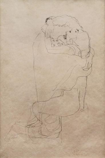 Kneeling Man and Seated Woman Embracing-Gustav Klimt-Giclee Print
