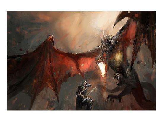 Knight Fighting Fire Dragon--Art Print