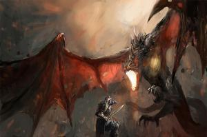 Knight Fighting Fire Dragon