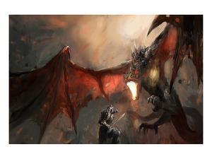 Knight Fighting Fire Dragon