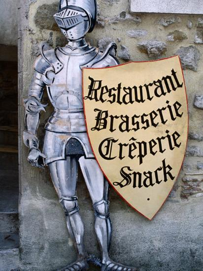 Knight in Armour Restaurant Sign in Medieval Walled City, Carcassonne,  France Photographic Print by Dallas Stribley | Art com