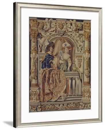 Knight Playing Lute with Lady Tapestry Woven in Brussels--Framed Giclee Print