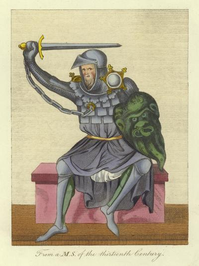 Knight, Possibly King, in Armour, from a Manuscript of the 13th Century--Giclee Print