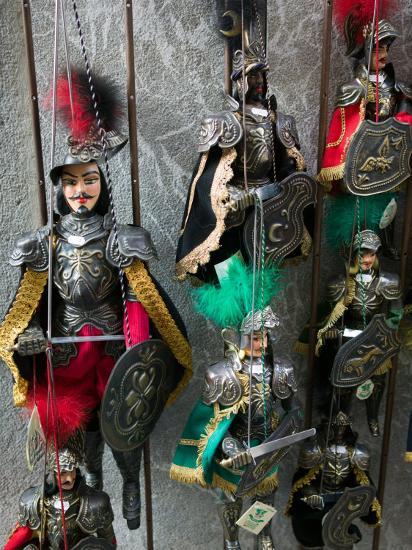 Knight Puppets, Corso Umberto 1, Taormina, Sicily, Italy-Walter Bibikow-Photographic Print