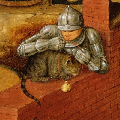 Knight Putting a Bell on a Cat, Detail from 'The Flemish Proverbs'-Pieter Brueghel the Younger-Giclee Print