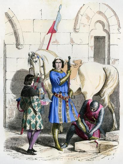 Knight Served by a Squire and Page, End of the 12th Century (1882-188)- Deghouly-Giclee Print