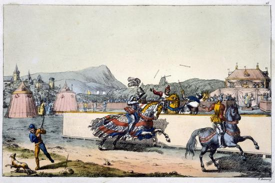 Knights jousting at a tournament, 19th century-Unknown-Giclee Print