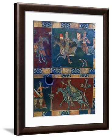 Knights on Horseback and King with a Falcon, 12th Century--Framed Photographic Print